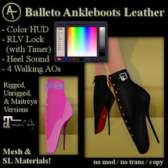 AT Balleto Ankleboots Leather (Anima Temptation) Tags: at ballet heel boot kinky bondage bdsm leather sl secondlife stiletto animatemptation