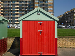 Brighton Hove (Jonathon Bennett Photos) Tags: flats beachhuts redhut apartments colour brighton hove bluesky doors green balcony phaseonep25 captureone architechture promonade seaside
