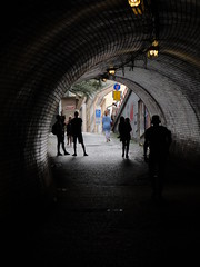 Žižkovský Tunel, Prague, looking toward Žižkov, 2018-08-13, 17-25-30 (tributory) Tags: prague žižkov tunnel pedestrian walking vitkovhill archetecture nuclearbunker walkway shortcut brick arch lighting daylight contrast people pedestrians cz praha