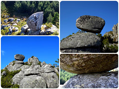 Desafiante equilibrio/Defiant equilibrium- (O Cebreiro 2) (PURIFM) Tags: mountain nature rocks roca landscape collage galicia naturaleza montaña rocas outside
