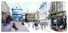 Dinan - Bretagne - France (guymoll) Tags: dinan bretagne france colombages place aquarelle watercolour watercolor aguarela terrasse café personnages people panoramique panoramic croquis sketch