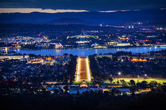 Nation's Capital || CANBERRA || ACT (rhyspope) Tags: australia aussie act australian capital territory mount mt ainslie lookout view vista blue hour bluehour city canberra parliament house travel sunrise sunset night evening tourist rhys pope rhyspope canon 5d mkii mountains lights