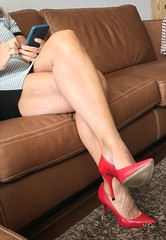 MyLeggyLady (MyLeggyLady) Tags: upskirt toe cleavage feet hotwife sex milf sexy secretary teasing crossed minidress thighs cfm pumps stiletto leather red legs heels