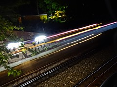"Catching the ""L"" train - Chicago, Illinois (Trebor420) Tags: chicago illinois train tracks graffiti fast night 2018 september catching rails lights 15th"