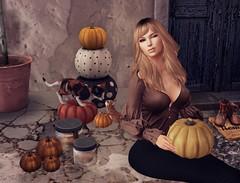 Welcome Autumn (Gaea Oakleaf-Danick) Tags: autumn fall season pumpkins leaves color crisp cool thanksgiving blessings days beauty alive halloween samhain celebration seasonal glamaffair maitreya catwa truth blueberry jian kraftworks dustbunny