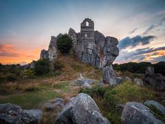 Roche Rock (Timothy Gilbert) Tags: lovecornwall roche rocherock panasonic wideangle sunset laowacompactdreamer75mmf20 m43 ultrawide lumix microfournerds gx8 microfourthirds cornwall boulders rocks