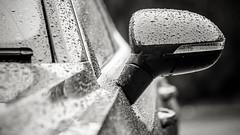 Mirror b&w.. (jonbawden50) Tags: mono monochrome bnw blackandwhite auto car vw arteon door mirror dof fuji 135mm f28 rain raindrops contrast manual lens chinon volkswagen automobile water drops