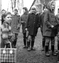 Ready for the outing (theirhistory) Tags: children kid girl school class form pupils trousers jumper wellies boots bag
