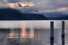Sunrise ar the Pier... (pier1091) Tags: switzerland buochs lake mountains morning sunrise