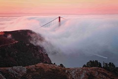Sunrise (Andrew Louie Photography) Tags: golden gate bridge low fog san francisco sunrise colors photography louie andrew boat august summer