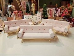 1:6 Danish modern sofas. It took several hours over two days, but they're finished! (wpnschick) Tags: barbiefurniture onesixthscale danishmodern midcenturymodern midcenturymodernminiature pinksofa barbiesofa barbiecouch