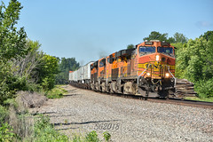 Hot pigs on the Marceline Sub. (Machme92) Tags: bnsf burligrton ge gevo railroad railfanning railroads railfans rails rail row railroading railfan american america atsf nikon