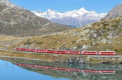 RhB ABe4/4 railcars 53 and 54_Ospizio Bernina, Switzerland_161016_03 (DS 90008) Tags: rhb abe44 53 54 mountains lake train railway metregauge ospiziobernina