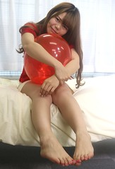 What Should I Do With This? (emotiroi auranaut) Tags: girl woman lady pretty beauty beautiful attractive face hair legs feet toes barefoot red toy balloon squeak