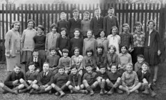 Class photo (theirhistory) Tags: boy children child kid girl school group class pupils students form jacket trousers shoes wellies boots fence
