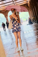 Bethesda Terrace (dangaken) Tags: ny nyc newyorkcity newyorknewyork newyorkny bigapple empirestate city urban eastcoast september2018 september manhattan midtownmanhattan upperwestside downtown blonde selfie umbrella romper rain wet bethesdaterrace centralpark skirt tennisshoes floral floraldress dress