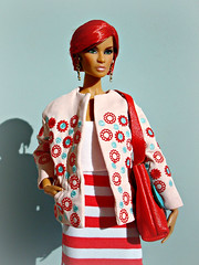 Dominique (Deejay Bafaroy) Tags: fashion royalty fr integrity toys doll puppe dominique makeda evening blossom barbie portrait porträt black red rot redhead nuface body lightblue hellblau white weiss pink rosa stripes streifen striped gestreift sunny sonnig outdoors draussen