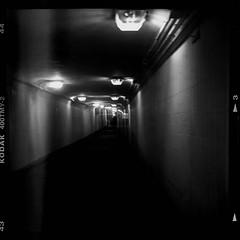 Both sides of light(Double exposure) (Listenwave Photography) Tags: 黑白摄影 lamps corridor dark shadow light tunnel underground city filmofone blackandwhite oldschool mediumformat 6x6 filmphotography duosexposure tmy kodak triotar tapeten artdeco rolleicord listenwavephotography