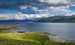 View with a house (Geert E) Tags: noorwegen norway landschap landscape mountains bergen water wolken clouds