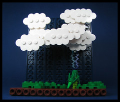 Thunderstruck (Karf Oohlu) Tags: lego moc microscale vignete thunderstorm lightning lightningstrike tree strucktree clouds cumulonimbus anvilhead storm