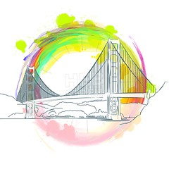 Colored landmark of Golden Gate Bridge (Hebstreits) Tags: abstract america architecture art background bay black bridge building california city cityscape concept drawing drawn famous francisco gate golden graphic hand historic icon illustration isolated landmark landscape modern outline panorama place red reflection san sea silhouette sketch skyline structure symbol tourism tower travel united urban usa vector view water white