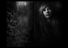 Dark side of the Pisces woman. (andredekok) Tags: portrait woman dark mysterious bw diptych dreamy sensual monochrome