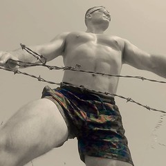 camoflauge (ddman_70) Tags: shirtless pecs abs muscle hiking outdoor shortshorts