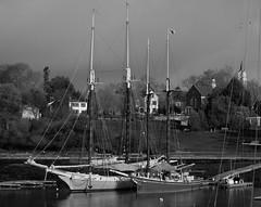 Harbor Slide (Bud in Wells, Maine) Tags: camden camdenharbor maine spring boats bw monochrome niksoftware lightroom hss fog midcoast