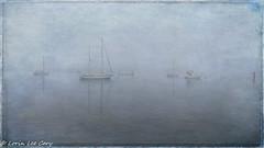 Harbor Series 16 (lorinleecary) Tags: composite manipulatedimage water textured mist digitalart artography harbor fog boats haze photomorphisbites morrobay