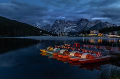 10 4 7 8 6.... (Julia Martin Photography) Tags: photographybyjuliamartin dolomites pedalos bluehour lightpainting lagodimisurina