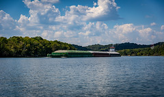 Man-made stuff on the Cumberland River-12 (mmulliniks) Tags: sony alpha a73 a7iii 24105 river water sky clouds landscape explore boat barge industry bridge waves hills wide outside nashville cumberland metabones sigma zeiss prime zoom