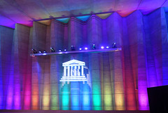 UNESCO Headquarters in Paris 7th (Sokleine) Tags: unesco building bâtiment immeuble architecture indoor interior 20thcentury heritage paris 75007 iledefrance france light effects lumières effets couleurs colors colours polycrhrome abstract