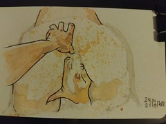 Moussu (geofroi) Tags: drawing watercolor painting sexy erotic couple lovers ass finger hand pen ink sketchbook sketch notebook