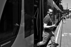 Bombardier (Jo Tsep) Tags: nikon d800 20mm brussels bruxelles araucaria tram 3 croix de feu belgium belgique mirror reflection monochrome black white mood humeur