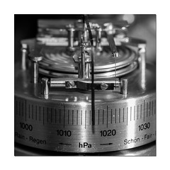 1017mb (Mark Wasteney) Tags: measure measurement barometer pressure barometricpressure blackwhite monochrome metal metallic equipment tool squareformat macromondays2nds photoborder frame weather