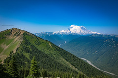 Just before the clouds hit the mount raininer !! (pankaj.anand) Tags: rain rainier mt seattle washington canon60d hdr photshop photoshop clouds mountains creek river crater cloudyday mtrainier nationalpark tokina widenangle green blue bluesky