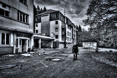Determined (Jan Fenkhuber Photography) Tags: urbex cliniquedudiable france alsace urban dark hdr photography clinic sanatorium hotel abandoned decay exploration building outdoors cloud roof blackandwhite bampw person man urbanexplorationalsacecliniquedudiableeuropefrancestosswihr