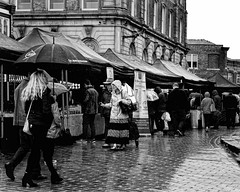 Wet market day (JEFF CARR IMAGES) Tags: northwestengland greatermanchester streetlife cheshire markets stockport wetwetwet