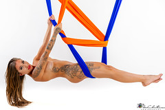 Aerial silk (geirchristensen) Tags: aerial silk nude model studio highkey colour artnude nudeart female woman girl body suspended hanging flash tatoo tatooed ink inked tattoo tattoed