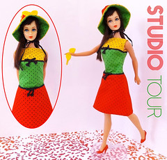 STUDIO TOUR (ModBarbieLover) Tags: studio tour barbie mod hair fair 1967 mattel fashion doll polkadot red green yellow dress hat sunglasses