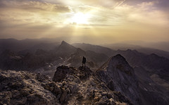 Break of Dawn (PixStone) Tags: triglav mountain summit peak top slovenia national park sunrise sunburst morning clouds color orange rocks landscape red self portrait nature europe contrast nikon d7100 pierre bader