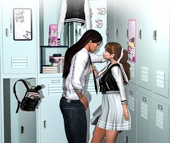 Varsity Days (Aleriah.) Tags: amitie coldlogic neve deadwool reign truth the arcade uber backpack high school university learning teaching gacha love locker men women second life secondlife sl virtual girls fashion