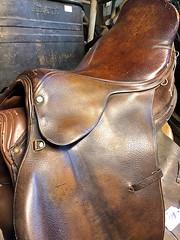 Dressage Saddle (AntyDiluvian) Tags: boston massachusetts northshore essex capeann antiques antiqueshop howardsflyingdragonantiques flyingdragon saddle dressagesaddle