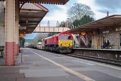 Pushing it a bit (Nodding Pig) Tags: yatton railway station train northsomerset england greatbritain uk 2018 class66 dieselelectric locomotive emd generalmotors dbschenker 201802179489101 shed yat