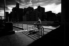 Extremely hot day (y uzen (犬も歩けば…)) Tags: bw blackwhite monochrome japaninbw fujifilm bridge bicycle sky cloud