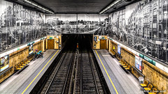 Brussels, Belgium: Aumale metro station (Line 5); Artist Jean-Paul Laenen; Metrorama 78 is a 600 square meter mural of photos showing the neighborhood before and during construction (nabobswims) Tags: aumale be belgium brussels bruxelles hdr highdynamicrange ilce6000 lightroom metro mirrorless mural nabob nabobswims photomatix rapidtransit sel18105g sonya6000 station subway ubahn