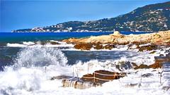 """Oggi niente bagno (wallace39 """" mud and glory """") Tags: mareggiata storm mare sea spiaggia beach onde waves ospedaletti caponero liguria italia summer scogli rocks paesaggio landscape estate"""