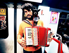 Lisbon (kirstiecat) Tags: lisbon portugal europe subway transit musician dog pero perro accordion street canon travel underground portrait littledoglaughedstories