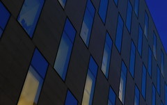 .....the blue hour..... (christikren) Tags: architecture abstract blue christikren building windows light structure facade glass himmel sky panasonic photography bluehour london lines again