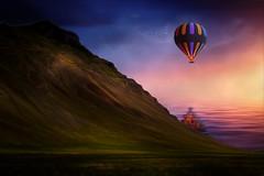 From Iceland. (Tóta. 27.12.1964.) Tags: fantasy mountain grass sky clouds balloon birds akrafjall water iceland ísland